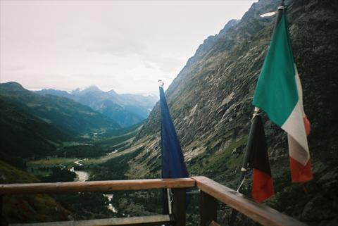 Mountains and flags