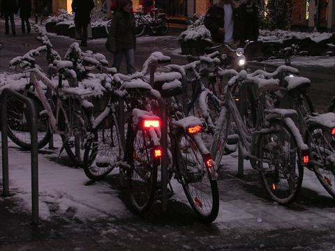 Bicycles covered with snow