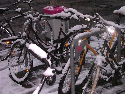 Bicycle ride in winter